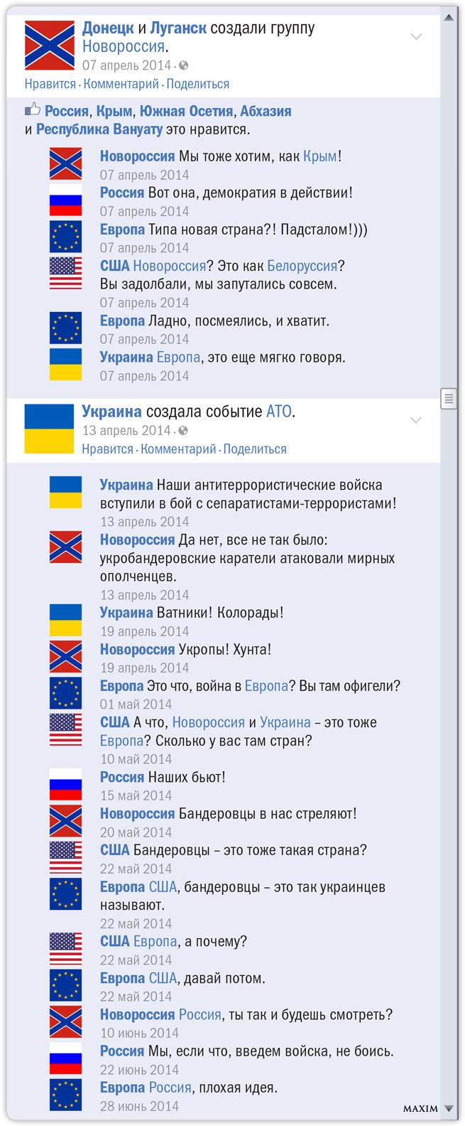 Российско-украинский конфликт в виде ленты Фейсбука