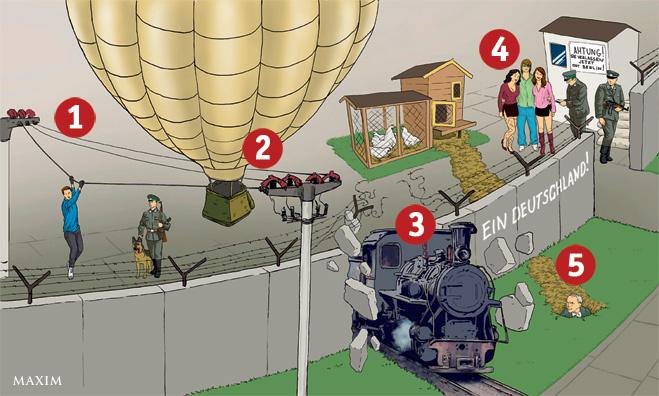 5 уникальных побегов через Берлинскую стену