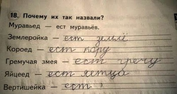 Из школьных заданий