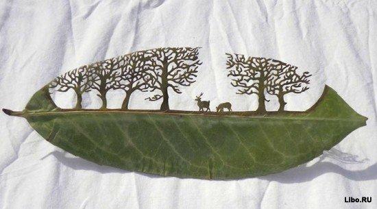 Тончайшая резьба по листьям