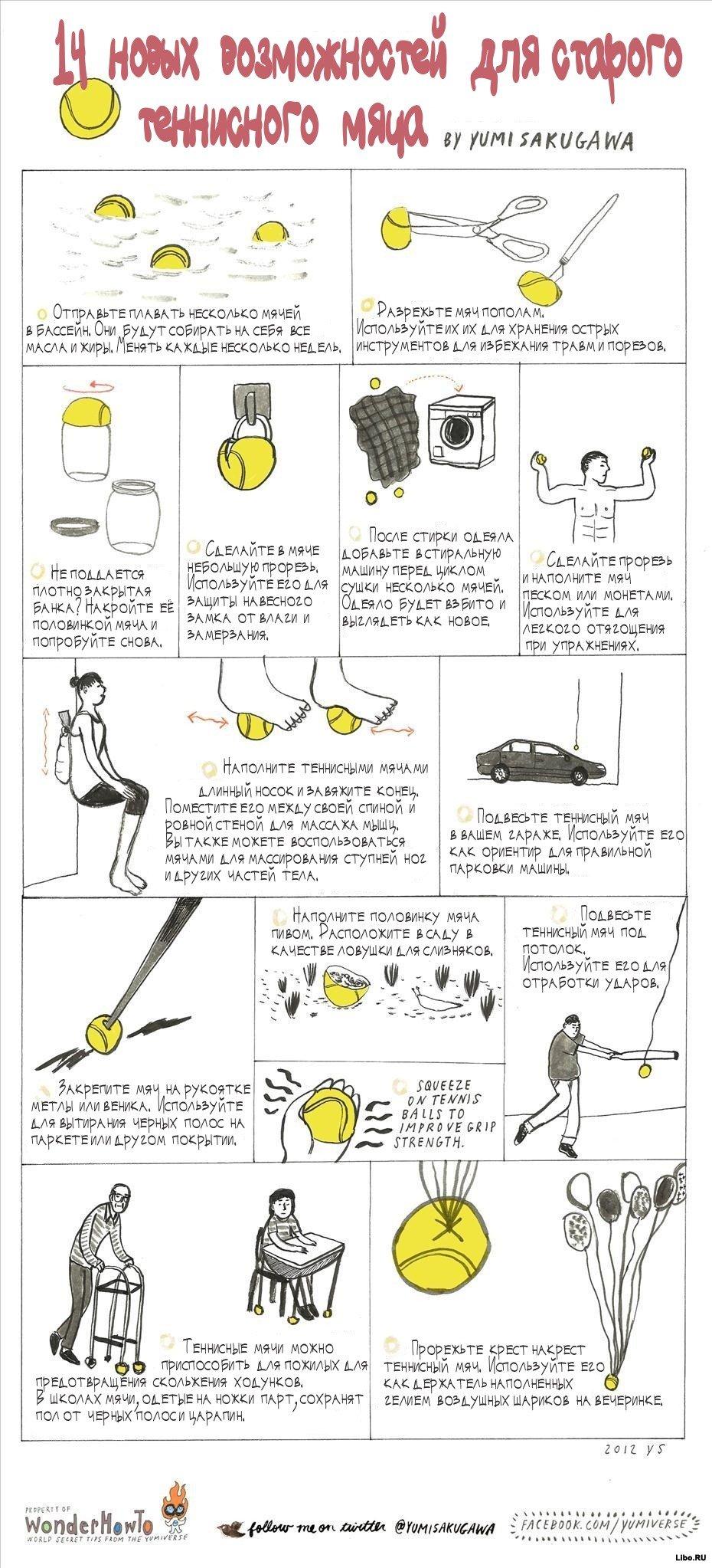 14 новых возможностей для старого теннисного мяча