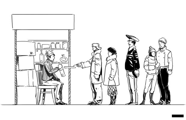 Продавец в ларьке